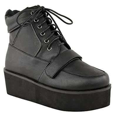 LADIES WOMENS PLATFORM FLATFORM CREEPERS LACE UP ANKLE WEDGE BOOTS SHOES SIZE (UK 5, Black Faux Leather)