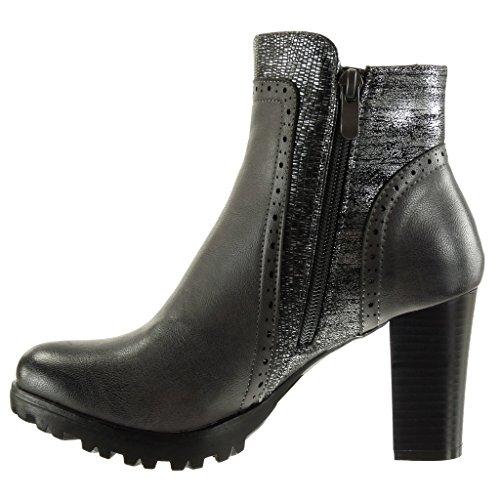 Angkorly Damen Schuhe Stiefeletten - Reitstiefel - Kavalier - Combat Boots - Schlangenhaut - Perforiert - Glänzende Blockabsatz High Heel 8 cm Grau