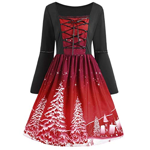 Luckycat Damen Plus Size Weihnachten Gedruckt Flare Langarm Cross Bandage Swing Dress Abendkleider Cocktailkleid Partykleider Blusenkleid Mode 2018