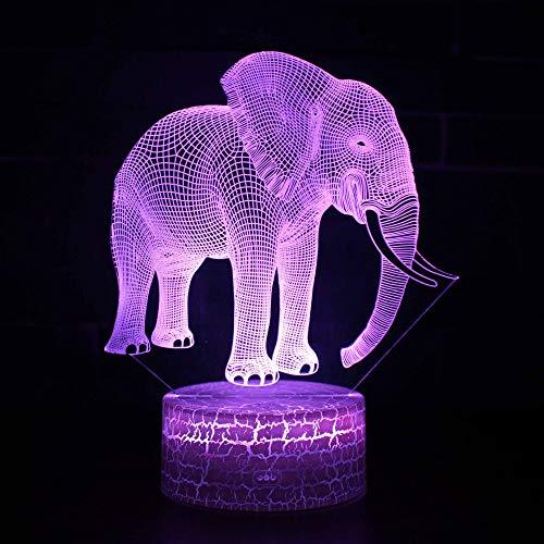 Elefantes 3d Lámpara Led de colores Decoraciones de Navidad Tablero de acrílico...