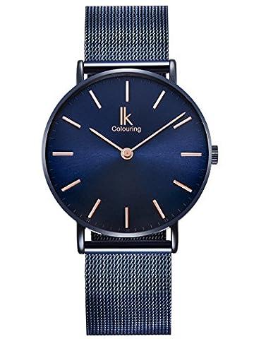 Alienwork Navy Blue Quartz Watch Ultra-thin women watches men Timeless design Metal blue