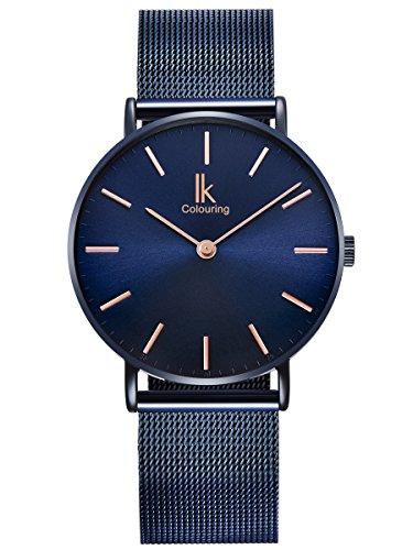 Alienwork Navy Blue Damen Herren Armbanduhr Quarz blau mit Metall Mesh Armband Edelstahl Ultra-flach Slim-Uhr