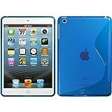 PhoneNatic Case für Apple iPad Mini 3 2 1 Hülle Silikon blau S-Style Cover iPad Mini 3 2 1 Tasche + 2 Schutzfolien