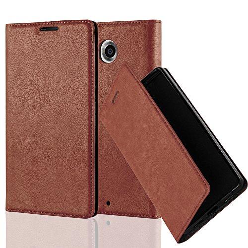 Cadorabo Hülle für Lenovo Google Nexus 6 / 6X - Hülle in Cappuccino BRAUN – Handyhülle mit Magnetverschluss, Standfunktion und Kartenfach - Case Cover Schutzhülle Etui Tasche Book Klapp Style