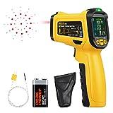 URCERI Termometro Digitale Laser Senza Contatto Temperatura -50℃~800℃ Termocoppia Tipo K Tester Umidità Ambientale Rilevatore di Pertita UV, Nero e Giallo
