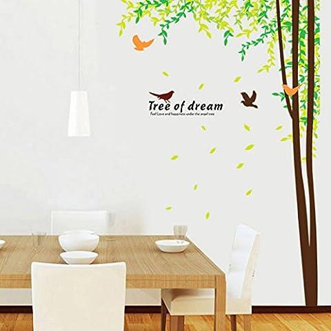Cena Grande Albero Uccelli foglie verdi e farfalle carta adesivi da parete decalcomania artistica da parete in vinile rimovibile in PVC camera da letto soggiorno decorazioni per bambini Nursery per bambini