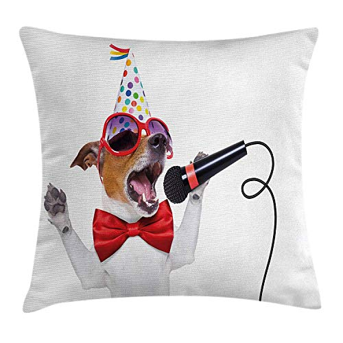 Popstar Party Throw Pillow Cushion Cover, Jack Russel Dog with Sunglasses Party Hat and Bowtie Singing Birthday Song, Decorative Square Accent Pillow Case, 26 X 26 inches, Multicolor