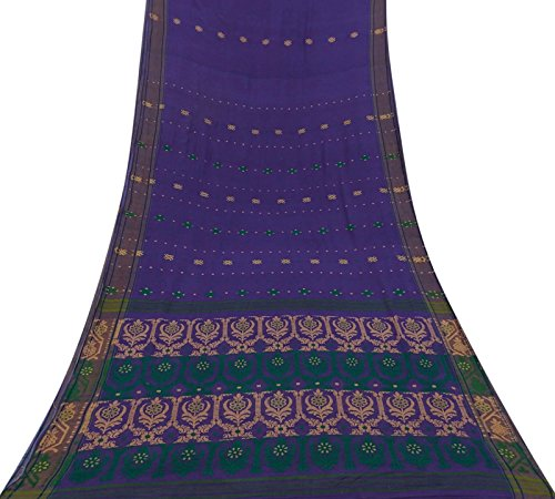 Vintage Indian Purple Saree Baumwolle Seide gewebt Craft Fabric Deco verwendet Sari 5 Yd