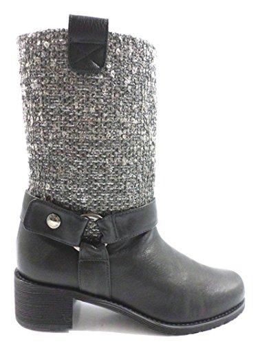 scarpe donna STUART WEITZMAN 37 EU stivali nero pelle tessuto AZ695