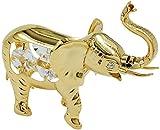 Unbespielt Dekoration Tischdekoration Figur Elefant mit Glas Kristallen 75 x 90 mm vergoldet Sammlerstück