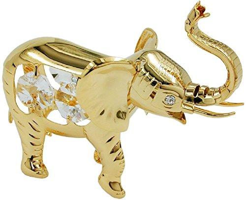 Unbespielt Dekoration Tischdekoration Figur Elefant mit Glas Kristallen 75 x 90 mm vergoldet Sammlerstück (Sammlerstücke Figuren Elefanten)