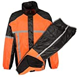 Herren Motorrad Wasserdicht reflektierendes Klebeband Durable Regen Gear in orange & grün (S, Orange)