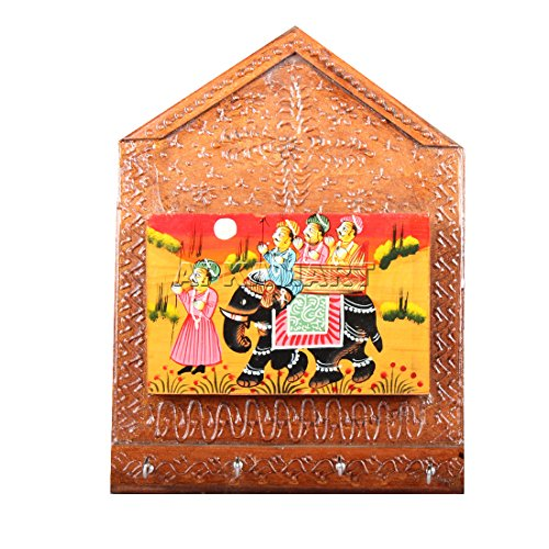 APKAMART Handicraft Key Holder And Rack Wall Hanging - 11 Inch - One Rack - Wooden Hand Crafted Key Stand Cum Showpiece For Wall Decor, Home Decor, Room Decor And Gifts