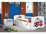 LIT Enfant Pompier 70 CM x 140 CM avec Barriere DE SECURITE + SOMMIER + TIROIRS + Matelas Offert ! – Blanc