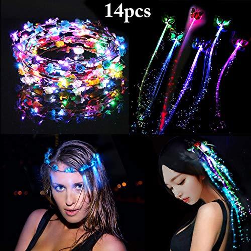 ge, FunPa 14 Stück LED Haarbänder Stirnbänder Blumenkranz Haar Garland Haarband für Frauen Mädchen Bohemia Haarschmuck Haarkranz für Halloween Cosplay Party Geburtstag Hochzeit ()