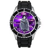 Timest - Pinguin Motiv Uhr Unisex mit schwarzem Silikonarmband Rund Analog Quarz CSE070