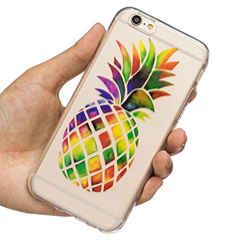 EUWLY Silicone Custodia Per iPhone 6 Plus/iPhone 6s Plus (5.5) Cover TPU Custodia Trasparente Antiurto Sottile Anti Scivolo Guscio TPU Caso Custodia Morbida Flessibile Protettiva Custodia Cover Cellu Ananas Colorato