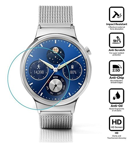 BlueBeach® 2 Piezas Huawei Watch Protector de Pantalla Vidrio Templado (0.3mm 2.5D 9H Dureza)