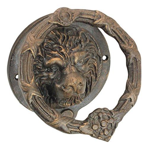 Design Toscano Pride of The Lions Gießerei Gusseisen Löwentürklopfhilfe, Gold