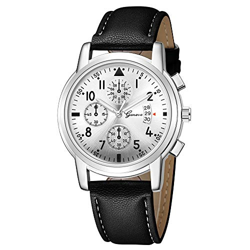 Armbanduhr jungen Liusdh Uhren Geneva Leaderband beobachten fluoreszierende Camping Outdoor Sportuhr(A,Einheitsgröße)