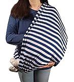 Stilltuch / Stillschal für diskretes Stillen Ihres Babys unterwegs: Unser 2 in 1 MyTinyPearl Nursing Cover ist blau-weiß gestreift lässig & elastisch, ein Stillcape für große als auch kleine Mütter und Babys (Blau-Weiß 2017)