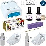 Kit de manicura semi - permanente Meanail - Ultra completo con 7 accesorios lampara UV seca uñas profesional 36W - ideal debutantes - normas europeas