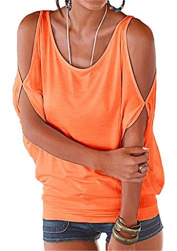 Bigood Top Femme Chic Coton Sexy T-shirt Epaule Nue Chemise Chemisier Col Rond Casual Eté Orange