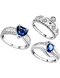 Lady touch Combo Of Silver Plated Blue Diamond Rings And Crown Ring For Girl's And Women's_Adjustable (Free Size)