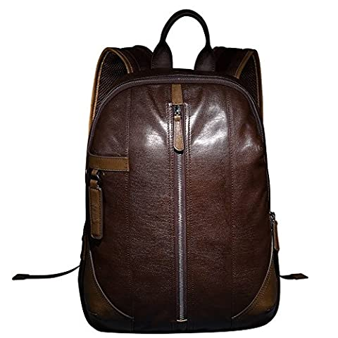 ONEWORLD High Quality Men's Double Straps Genuine Cattle Hide Real Leather Backpack Top Grade Casual Travel