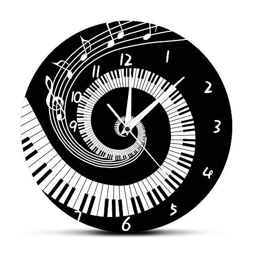 gante Klaviertasten Schwarz Und Weiß Moderne Wandmusik Noten Welle Runde Musik Tastatur Wandmusik Liebhaber Pianist Geschenk Esszimmer Küche Büro Schule ()