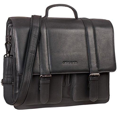 STILORD 'Marius' Klassische Lehrertasche Leder Schultasche XL groß Aktentasche zum Umhängen Businesstasche Laptoptasche echtes Rindsleder , Farbe:schwarz (Aktentasche Rindsleder)