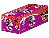 Whiskas Katzenfutter 1+ für erwachsene Katzen - saftige Fleisch-Auswahl in Sauce / 40 Portionsbeutel (40 x 100 g)