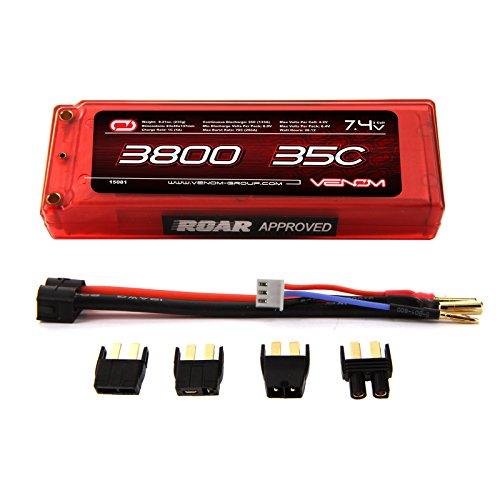 Venom 35C 2S 3800mAh 7.4 Hard Case LiPO Battery ROAR Approved with Universal Plug