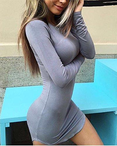 SaiDeng Mini Robe Col Rond Manche Longue Débardeur Robes De Base Femme Gris