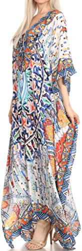 Sakkas Georgettina Robe Caftan Robe de Plage Fluente Strass Col en V Longue Bleu / Orange / Navy