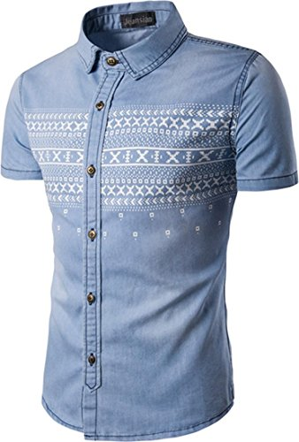 Jeansian Hommes Mode Casual Chemises Manche Courte Men's Fashion Printed Denim Slim Short Sleeves Dress Shirts Tops 84P8 LightBlue