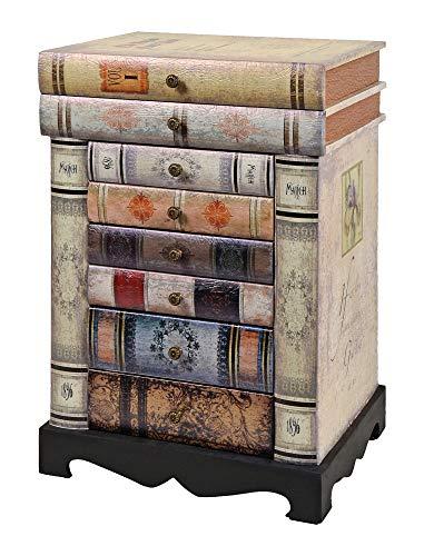 ts-ideen Design Kommode Bücherregal Schrank im Vintage Antik Buch Look Nachttisch mit Schubladen (Bücherregal Schublade)