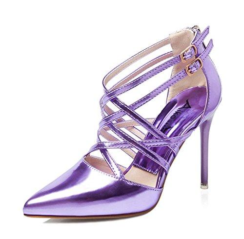 Wealsex Damen Cross Strap Rom Lackleder Spitze Pumps Klassische Stilettos High Heels Sandaletten Violett