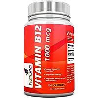 NutriZing capsule di vitamina B12 ~ 1000mcg ~ 100% integratori vegetariani Methylcobalamin ~ Made in UK ~ migliore fonte di carenza di vitamina B ~ per uomo e donna ~ Aumentare l'energia e aumentare il metabolismo ~ Funziona alla grande per il corretto funzionamento delle cellule rosse del sangue e del sistema nervoso ~ migliorare la pelle e chiodi ~ 120 capsule (4 fornitura mese)