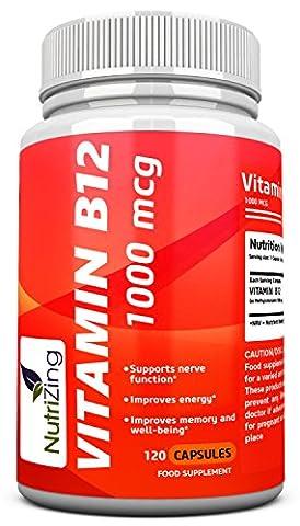 NutriZing capsules de vitamine B12 ~ méthylcobalamine 1000mcg ~ 100% suppléments Végétarien ~ Made in UK ~ meilleure source pour une carence en vitamine B ~ pour les hommes et les femmes ~ Augmenter l'énergie et stimuler le métabolisme ~ Fonctionne très bien pour le bon fonctionnement des globules rouges et le système nerveux ~ Améliorer la peau et ongles ~ 120 capsules (4 mois d'approvisionnement)