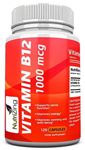 NutriZing Vitamin B12 Kapseln ~ Methylcobalamin 1000mcg ~ 100% vegetarisch Ergänzungen ~ Beste Quelle Hergestellt für Vitamin B Mangel ~ für Männer und Frauen ~ Energie zu erhöhen und den Stoffwechsel ankurbeln ~ Funktioniert hervorragend für die ordnungsgemäße Funktion der roten Blutkörperchen und das Nervensystem ~ Haut verbessern und Nägel