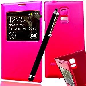 *** COFFRET LUXE *** Etui SAMSUNG GALAXY CORE PRIME SM-G360 housse coque de protection Flip cover avec fenêtre SVIEW FOLIO pochette portefeuille ROSE + STYLET NOIR pour Smartphone core prime VE Value Edition SM G360 G360H G360F dual sim SM-G360F G 360 4G LTE sm-g361f g361 sm g361f 361