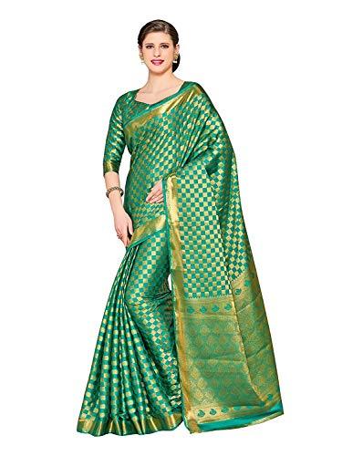 Kanjivaram Style Crepe Saree Color: Green Crepe Saree