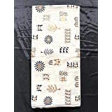 NK Textiles Tribal/Warli Hand Block with Foil Print Khadi Cotton Unstitched Dress Material Fabric for Making Kurtis, Gowns, Palazzo, Patiyala (OFF-WHITE and BLACK , Free Size)