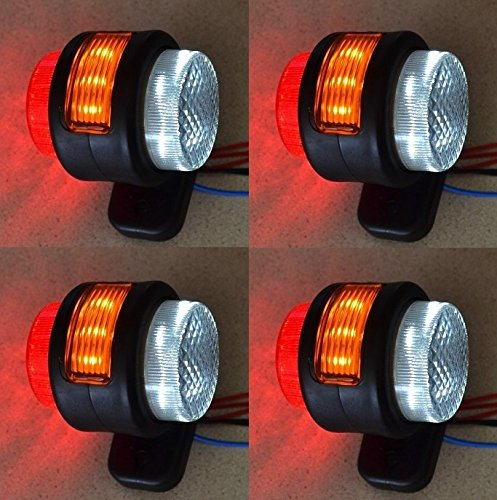 Rote Lkws Für Led-lichter (4x 24V Seite Outline Orange Rot Weiß Marker 15LEDs Lichter LKW Truck Chassis Trailer Van Caravan Camper Bus)