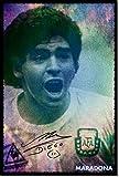 Diego Maradona: Poster Fotografico (Con replica di Autografo). Rara Stampa Artistica Idea Regalo 30x20cm Cartellone