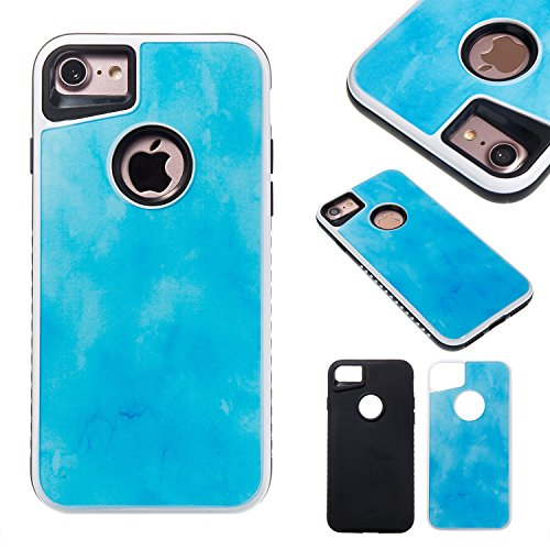 Double couche Scrub Marble Stone motif d'image PC + Soft TPU Case Back Protective Cover Shell pour iPhone 7 ( Color : E ) D