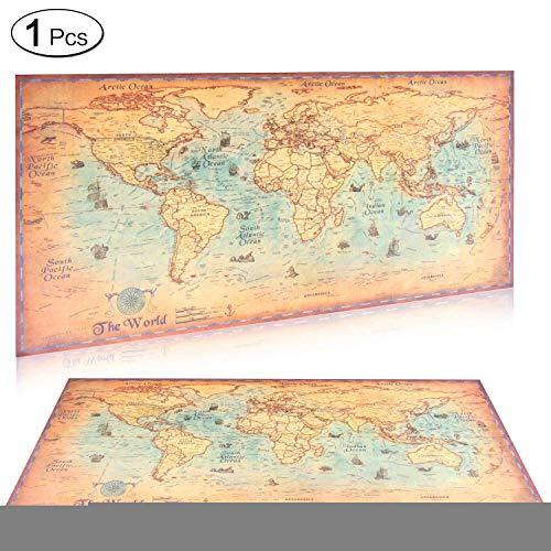 Vintage-Weltkarte, Kraftpapier, Retro-Navigation, antikes Segelkarte, Wandposter, 1 Stück -