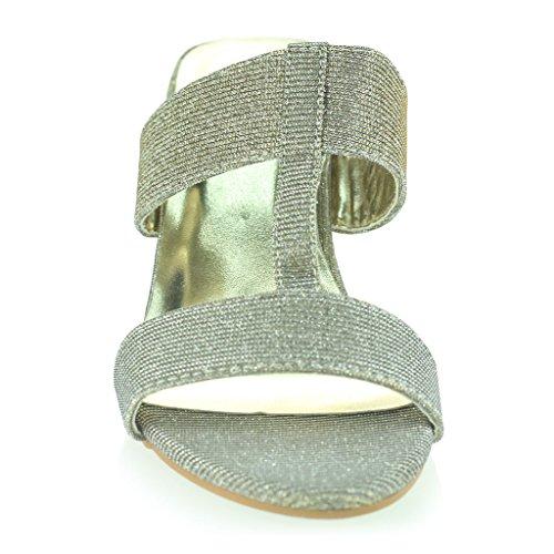 Frau Damen Schimmernd Funkeln T bar Schlüpfen Blockabsatz Abend Lässig Party Sandalen Schuhe Größe Zinn