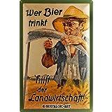Nostalgic-Art 24006 Open Bar - Wer Bier trinkt hilft der Landwirtschaft, Blechschild 40x60 cm